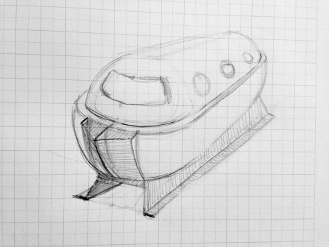 Initial sketch for a double-keel made of steel